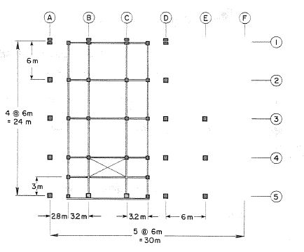 Structural system for Mezzanine at 2.25 m (Bertero & Shah, et al, 1983)