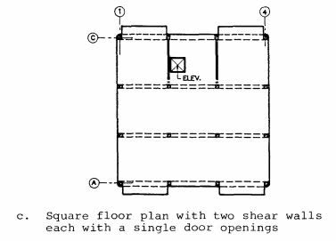 Typical floor plans for the Soviet Series 111 (Building 111-11) precast concrete frame building (Wyllie, 1988).