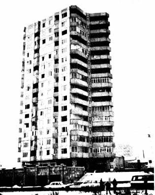 Sixteen-story lift-slab building in Leninakan that suffered severe damage to its core wall (Wyllie, 1989).