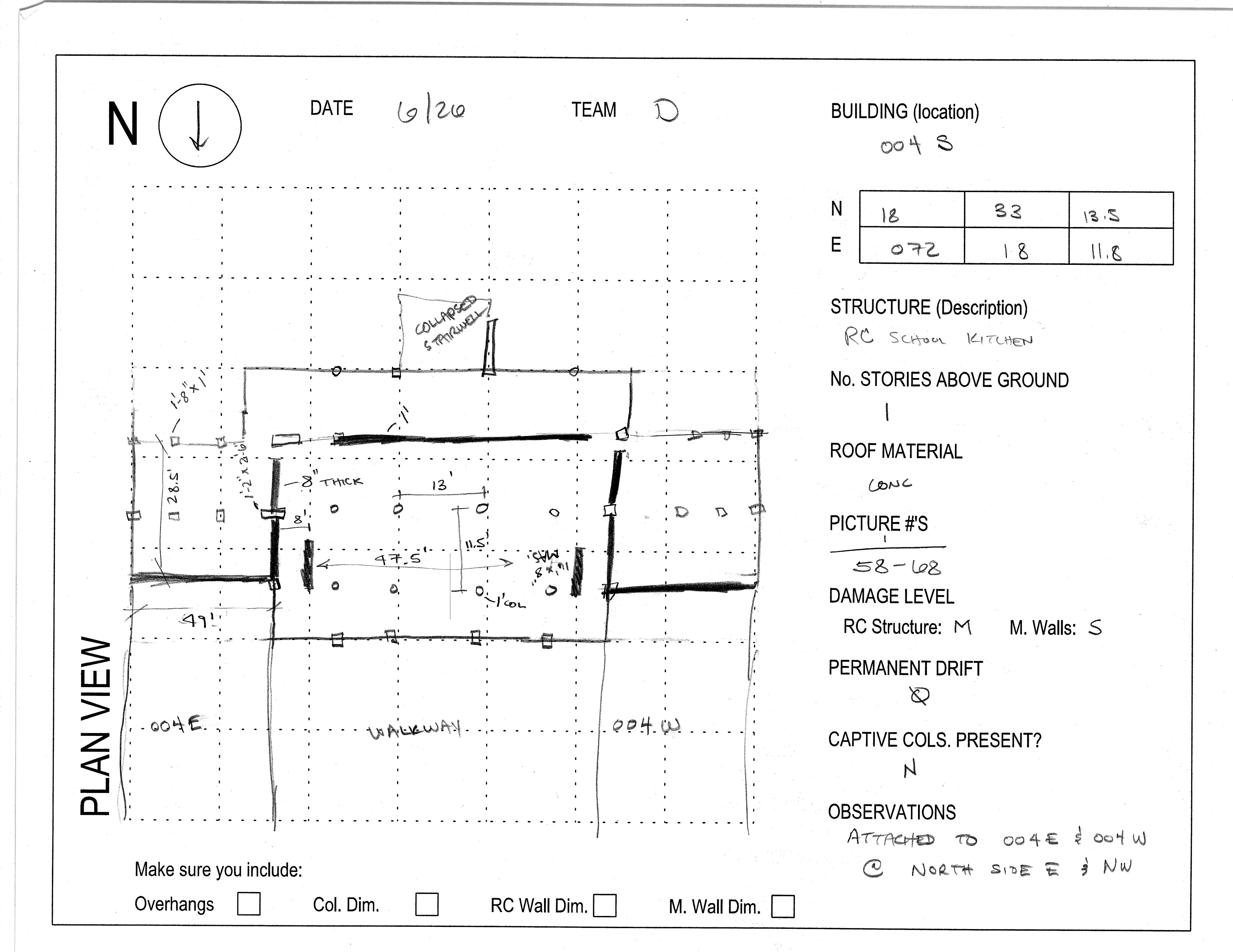 Sketch of plan view of kitchen wing as observed in field. (NEEShub, 2011)