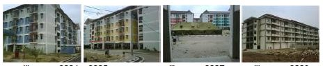 Damaged (three pictures in the left) and undamaged (right picture) building apartment (Nurjaman, 2010)