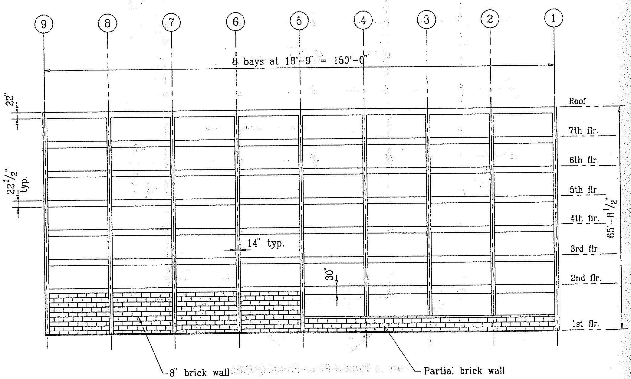 North perimeter frame elevation. (SSC, 1994)