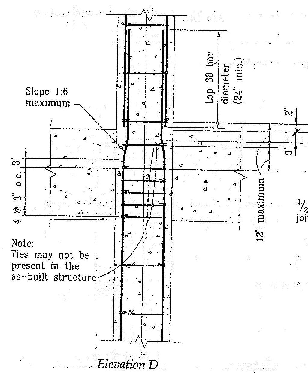 Typical beam-column section at elevation D. (SSC, 1994)