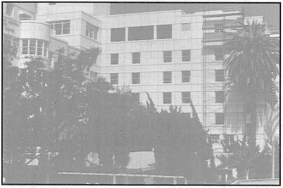 Elevation view of the south wing of St. John's Hospital and Health Center prior to the Northridge Earthquake. (SSC, 1994)
