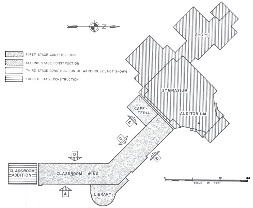 Pre-earthquake floor plan, West Anchorage High School. (National Academy of Sciences, 1973)