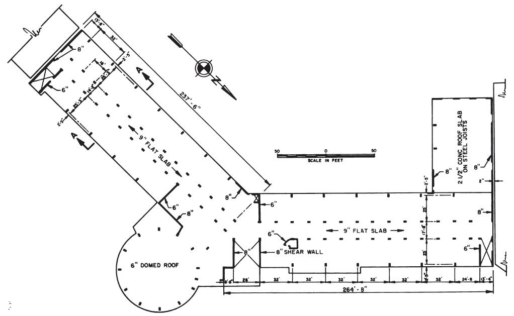 First floor plan of West Anchorage High School, showing column spacing. (National Academy of Sciences, 1973)