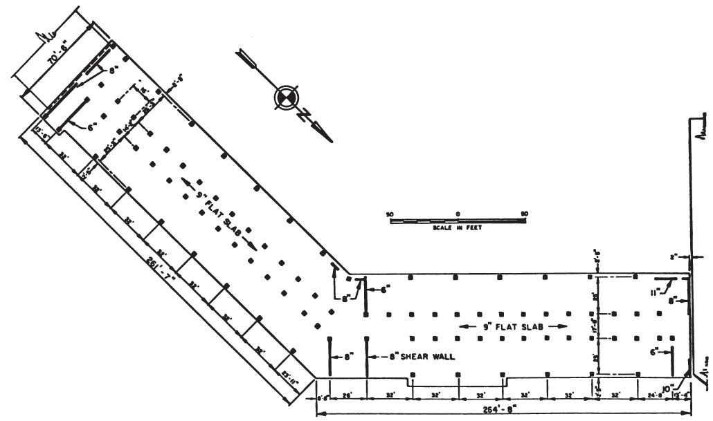 Second floor plan of West Anchorage High School, showing column spacing. (National Academy of Sciences, 1973)