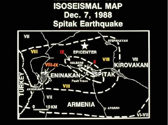 Isoseismal map provided by the Soviets (very preliminary). Note fault (8 km long) which is a thrust fault with a dip of 550 North uplifted by 1.6 meters (5 ft) with respect to the South. Surface mapping in the spring of 1989 has shown that the surface fau