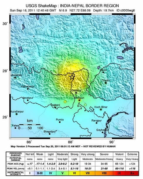 Shaking intensity of Sikkim 2011 earthquake (USGS, 2012).