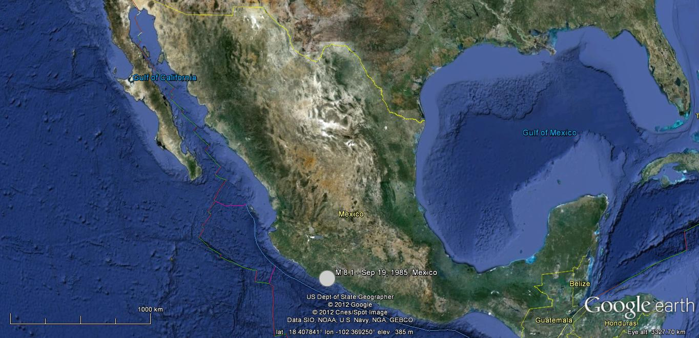 "Location of September 19, 1985 Michoacan, Mexico earthquake. Source: ""Mexico"". 18.41 N and 102.37 W. Google Earth/USGS, 2012."