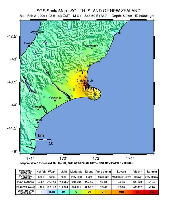 Shaking intensity of Feb. 22 Christchurch earthquake. (USGS, 2011)