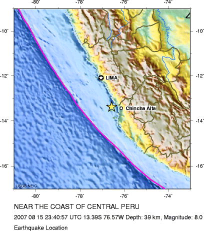 Location of August 15, 2007 near the coast of central Peru, Pisco earthquake. (Artwork prepared by USGS).