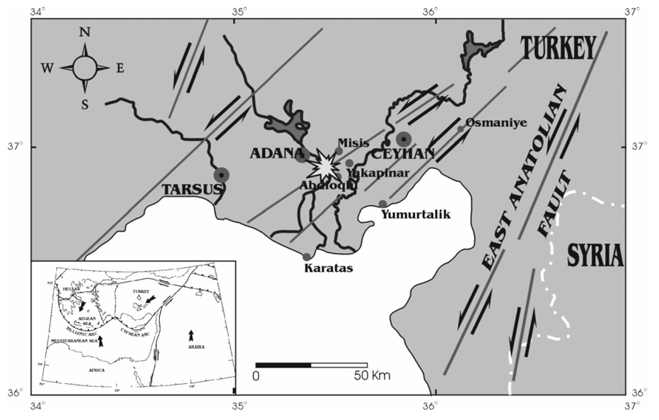 Neotectonic sketch map of the Adana region (Retrieved from Lekkas and Vassilakis, 2000).