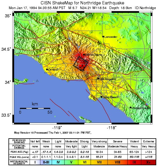 Shaking intensity for Northridge earthquake. (USGS, 2009)