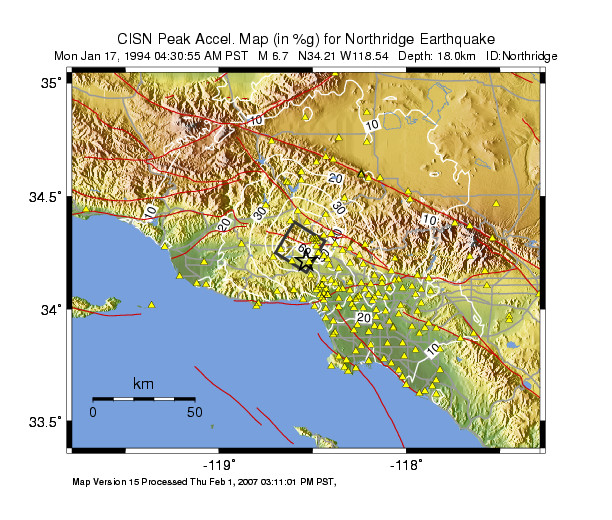 Peak ground acceleration for Northridge earthquake (in %g). (USGS, 2009)