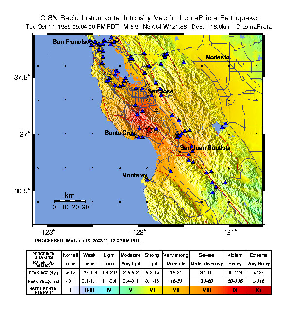 Shaking intensity for Loma Prieta earthquake. (USGS, 2009)