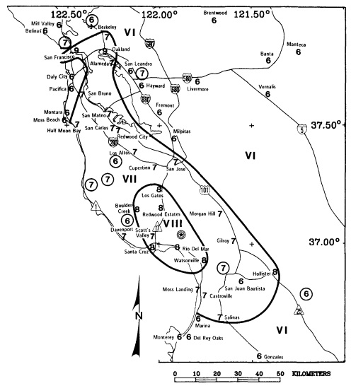 Preliminary map showing the distribution of Modified Mercalli intensity for the 1989 Loma Prieta earthquake. Intensity values for localities are given in Arabic numbers. Roman numerals represent the intensity level between isoseismal lines. Location of th
