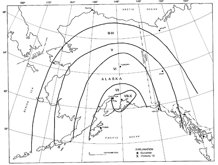 Isoseismal intensity map of the Alaska earthquake. (Von Hake and Cloud, 1966)