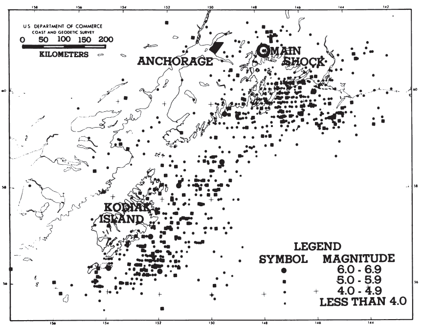 Larger aftershocks of the 1964 Alaska earthquake. (National Academy of Sciences, 1973)