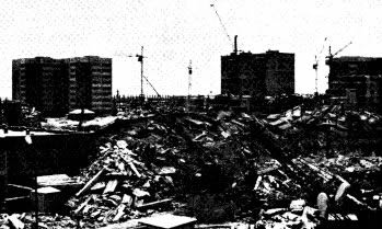 Collapsed frame buildings in foreground with essentially undamaged large panel buildings beyond (Wyllie, 1989).
