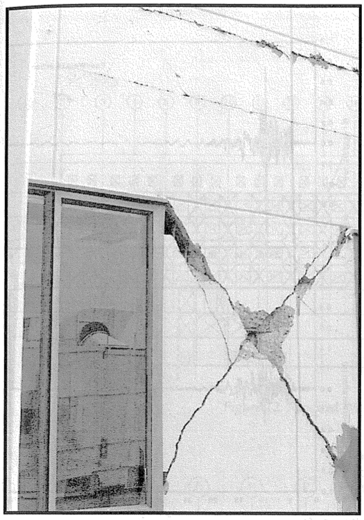 Typical shear wall damage. (SSC, 1994)