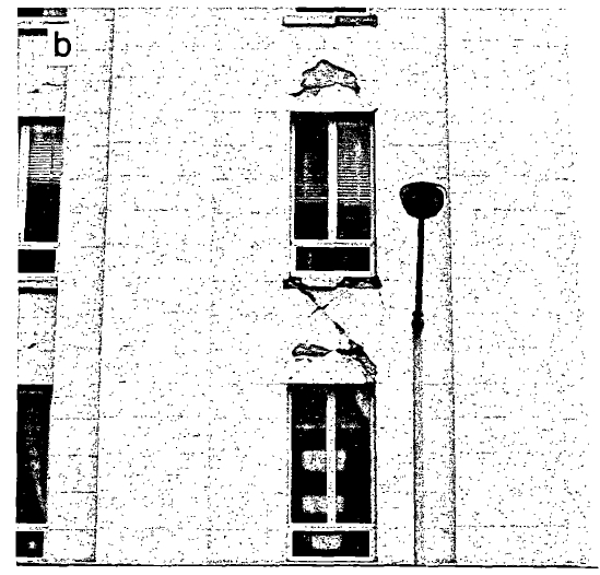 Close-up view of damage to spandrel. (Lew, 1990)