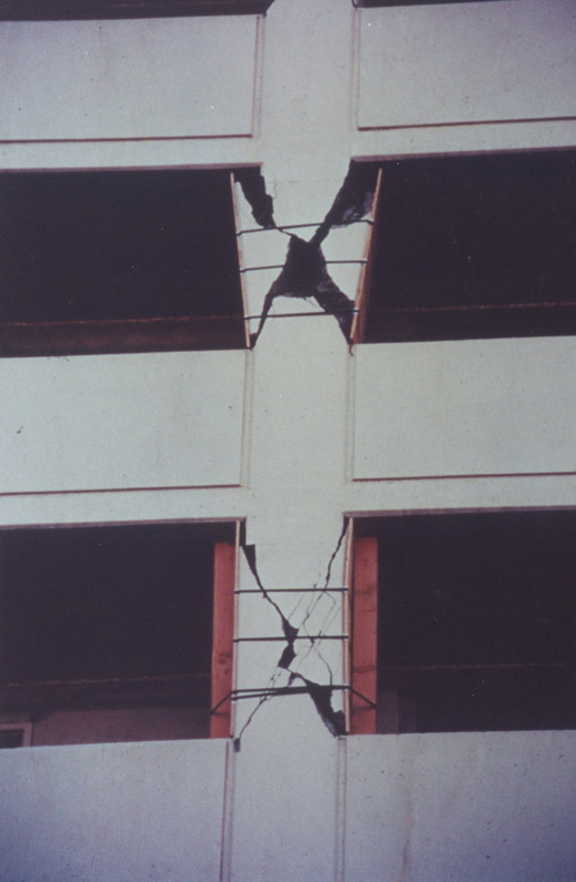 Typical X-shaped shear cracking, a result of induced short-column effects from the presence of balcony parapets. (Comartin et al., 2004)