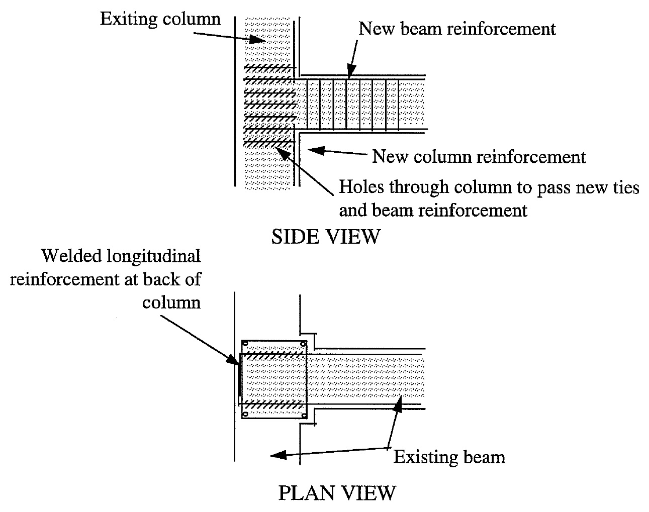 Beam anchorage to edge column (Retrieved from Aguilar et al., 1996).