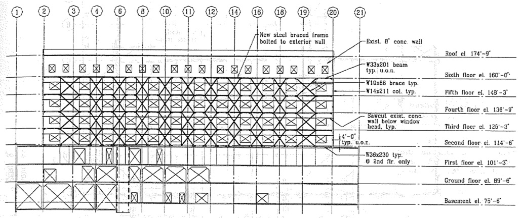 Repaired wall elevation at Line G. (SSC, 1994)