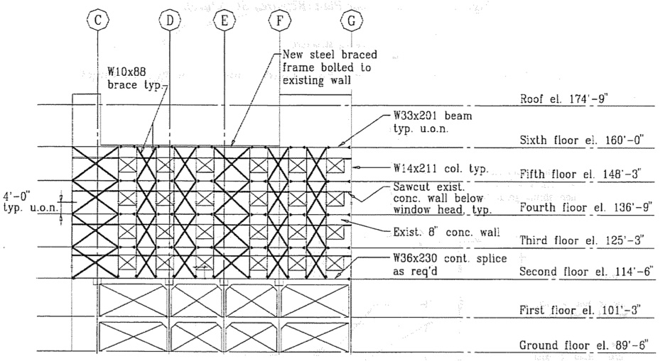 Repaired wall elevation at Line 20. (SSC, 1994)