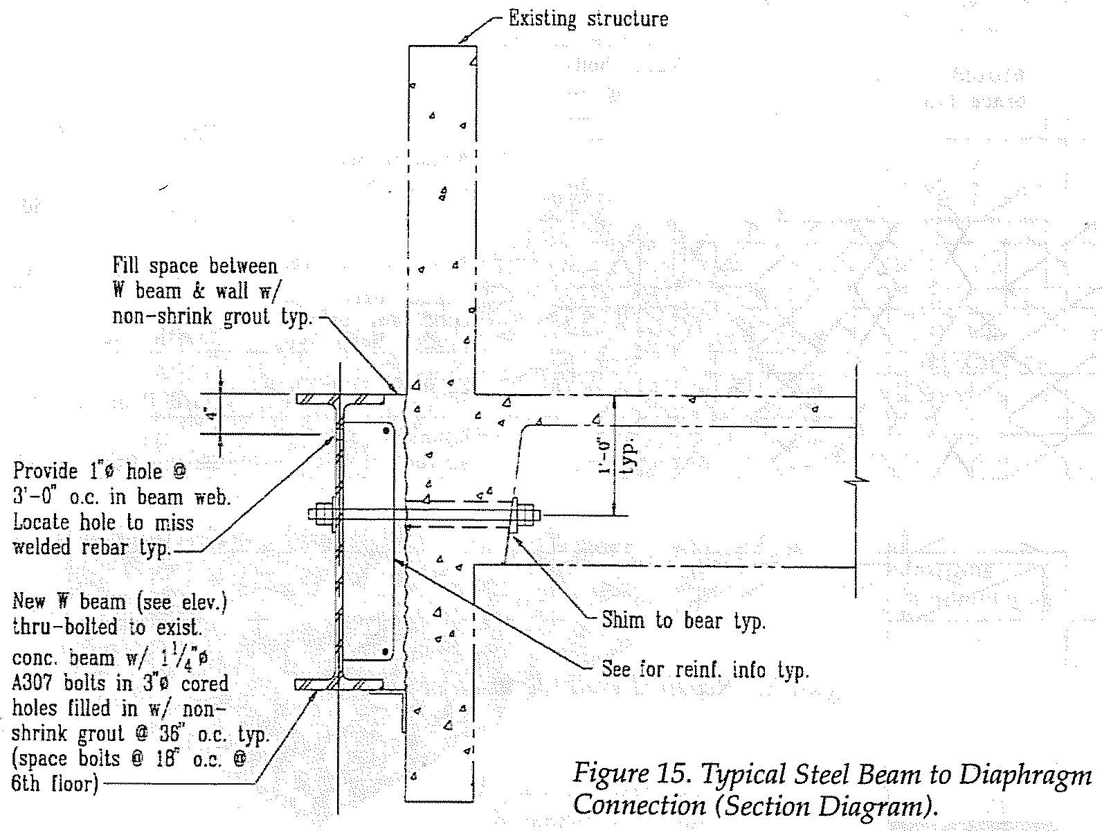 Typical steel beam to diaphragm connection (section diagram.  (SSC, 1994)