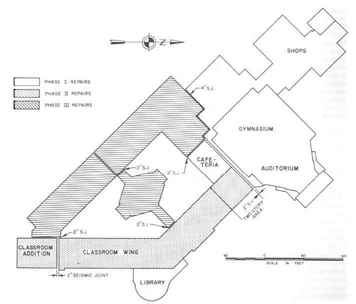 Floor plan of restored West Anchorage High School. (National Academy of Sciences, 1973)